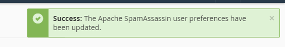 Success: The Apache SpamAssassin user preferences have been updated.