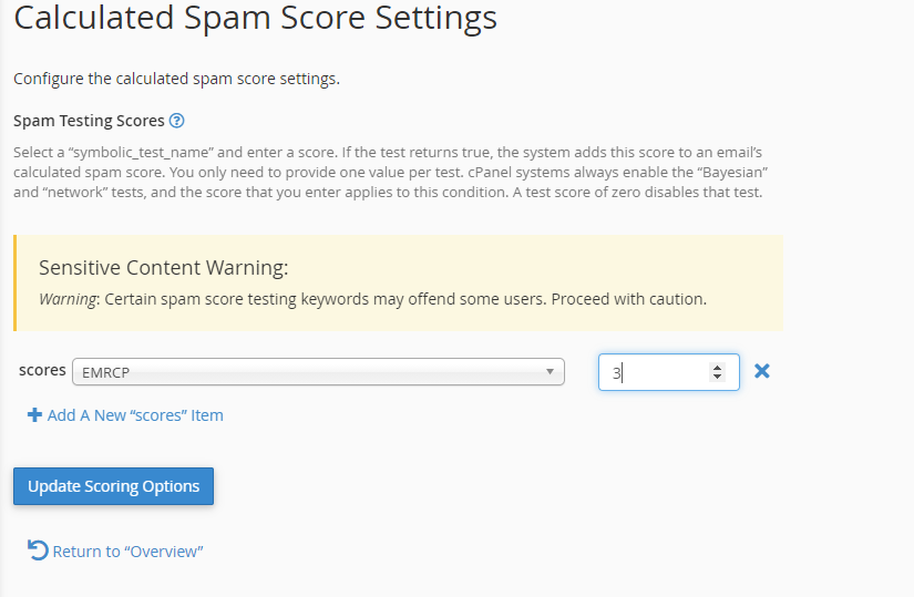 To change scores associated with different tests, you can change the calculated spam score settings.