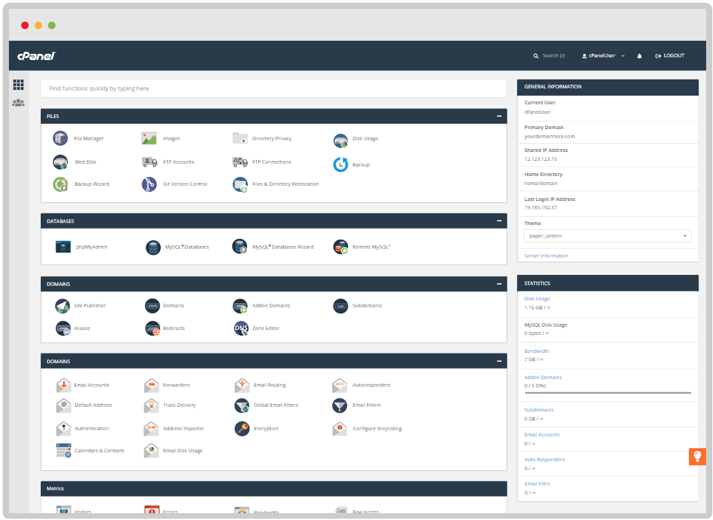 cPanel Interface
