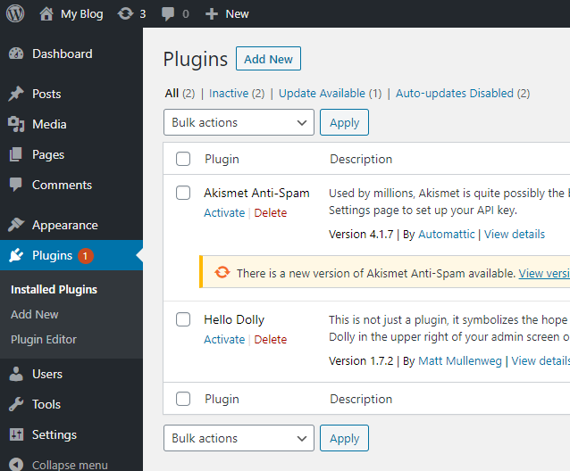 screenshot WordPress admin dashboard with plugins tab highlighted in blue on the left-hand sidebar