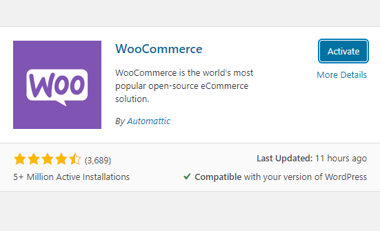 screenshot WooCommerce plugin with Activate button highlighted in blue