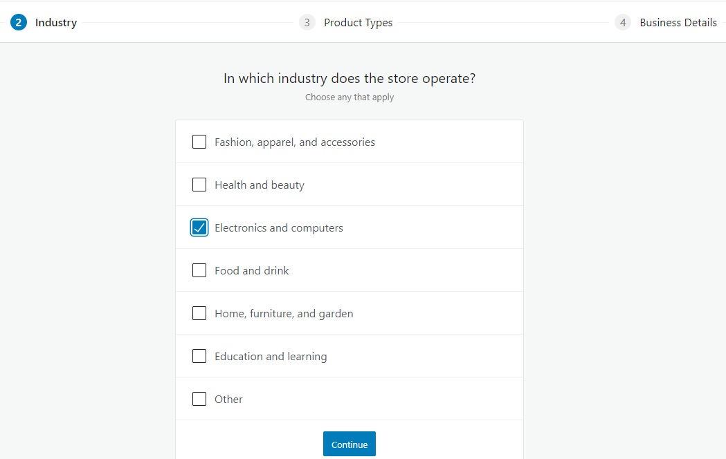 screenshot Form for store industry selection