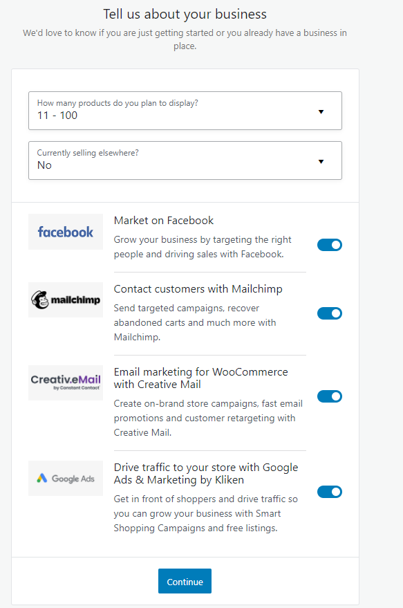 screenshot WooCommerce form for business details