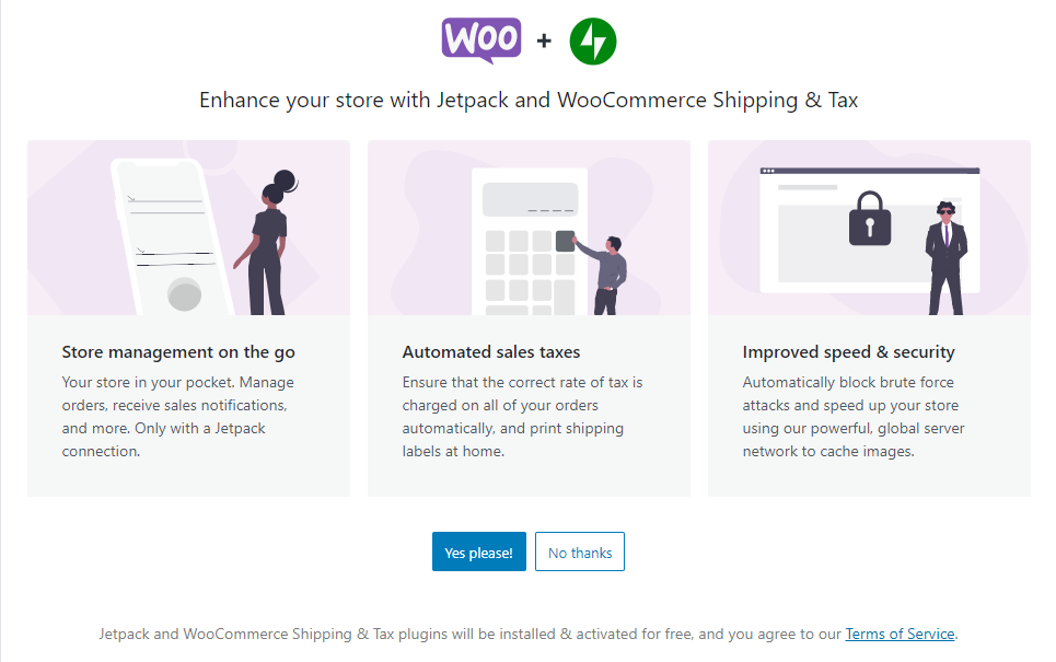 screenshot WooCommerce extensions form