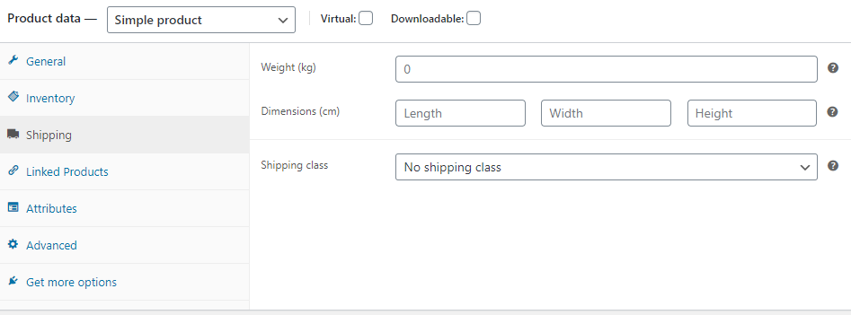 screenshot WooCommerce Product Shipping form