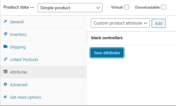 screenshot WooCommerce Product data Attributes form