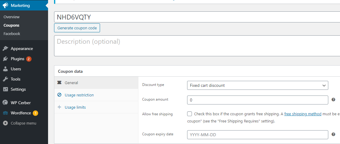 screenshot WooCommerce Marketing section, coupon and discount form