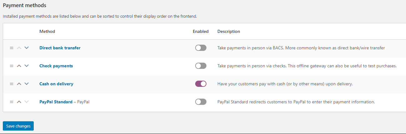 screenshot WooCommerce payment settings