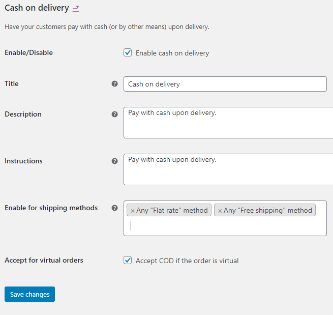 screenshot WooCommerce Cash on Delivery setup form