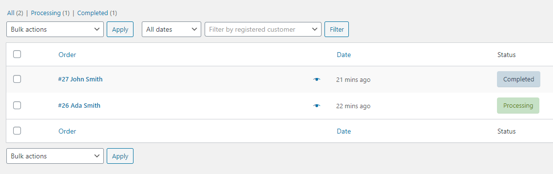 screenshot WooCommerce Order filtering