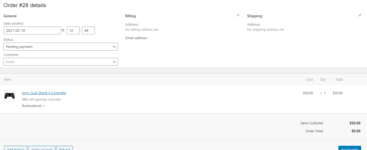 screenshot WooCommerce Order manual add form