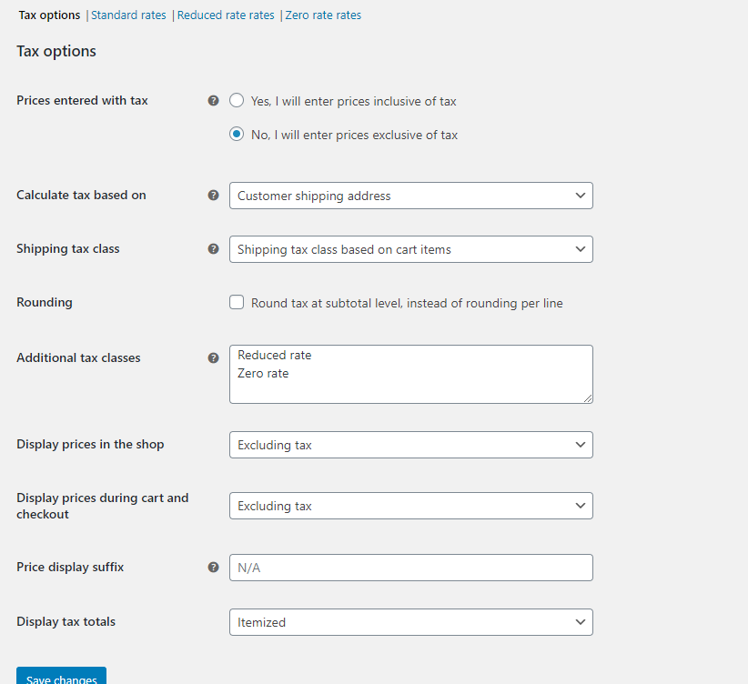 screenshot WooCommerce Tax settings