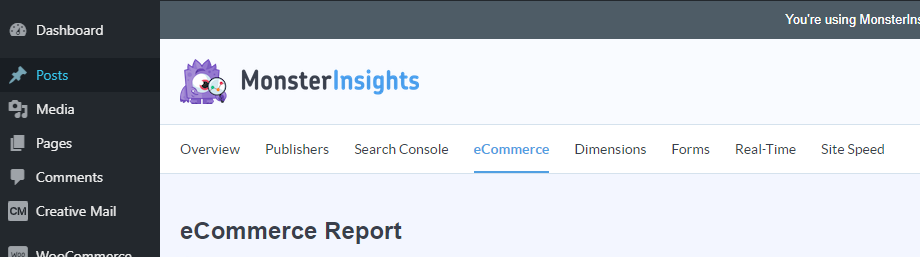 screenshot MonsterInsights eCommerce reports